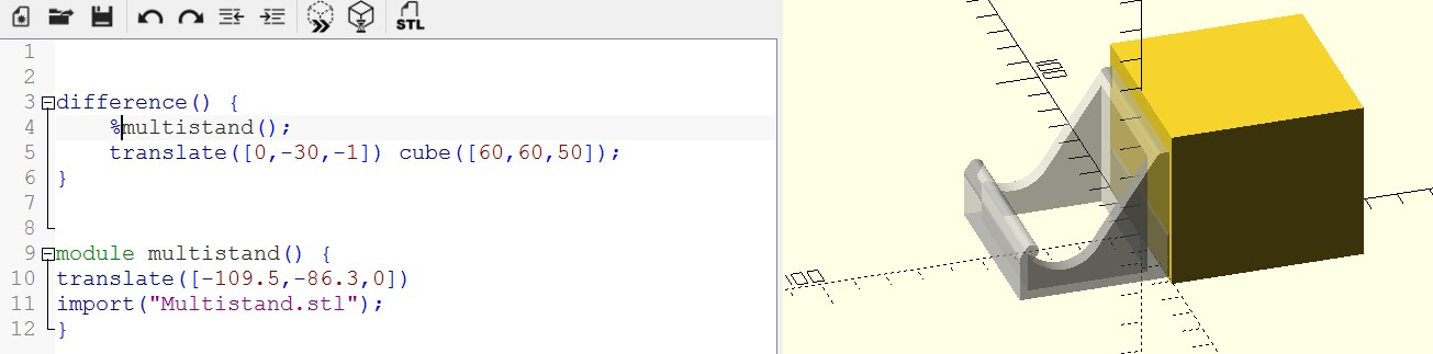 OpenSCAD - Errors when operating on an STL file
