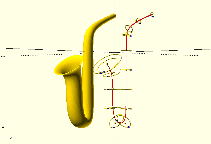OpenSCAD - Curved/bent conical tubing