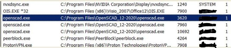 """Another Task Manager capture, of THREE OpenSCAD.exe's """"Processes"""" running, yet there are no User Interfaces running in foreground."""