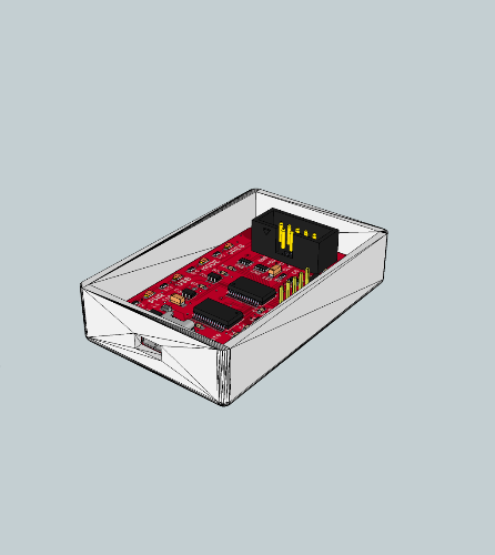 OpenSCAD generated case and eaglup generated board in sketchup